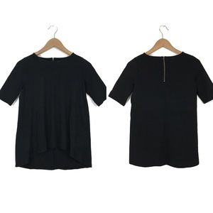 Madwell Black Back Zip Hi Low Swing T-Shirt Top